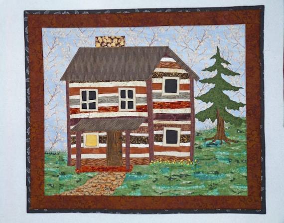 Log Cabin Folk Art Style Primitive Log House Home Landscape Art Quilt