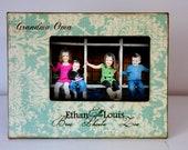 Grandparent Picture Frame with GrandKids names 4x6 Vintage Rustic Distressed Grandma Grandpa