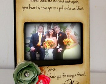 Rustic Vintage Wedding Party Thank you Picture Frame Flower arrangement. 4x6 Keepsake