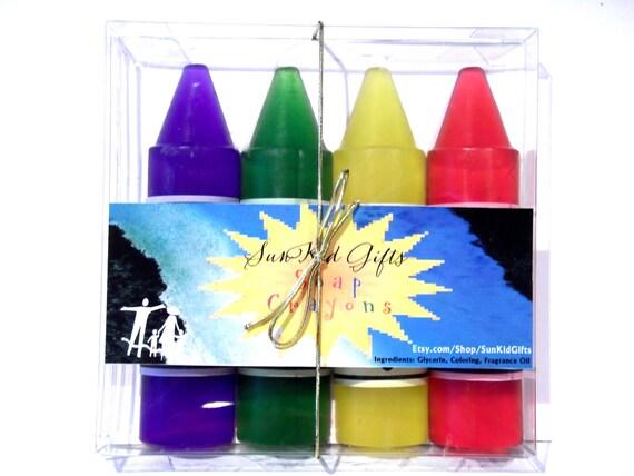 Crayon Soap - Box of 4 Scented Crayon Soaps - Funny Boy Names - Cute Girly Names.
