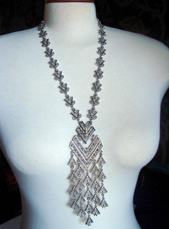 1960s Silver Tone Egyptian Revival Necklace Tassel Bib Style