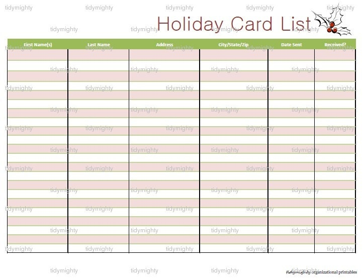 holiday christmas card list organizer printable by tidymighty. Black Bedroom Furniture Sets. Home Design Ideas