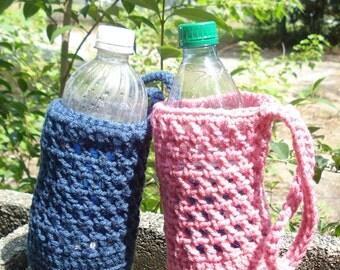 Water Bottle Holder Cozy Carrier - Handmade Crochet