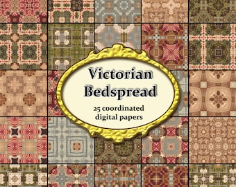 Victorian Bedspreads Digital Paper 25 Printable Backgrounds for  Scrapbook Card Making Streampunk Antique & Other Crafts