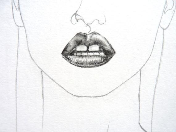 Vogue Fashion Illustration Pencil Smokey Eyes & Dark Lips Lara Stone - Original