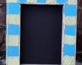 Distressed picture frame with a 5x7 opening.  Blue and seagreen Wooden Frame