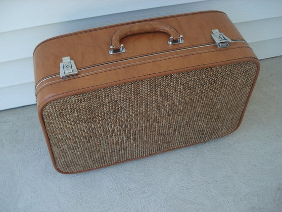 Brown tweed overnight suitcase