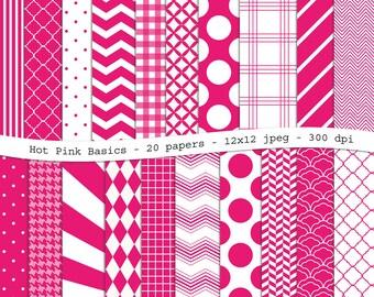 Hot Pink Basics digital scrapbooking paper pack - 20 printable jpeg papers, 12x12, 300 dpi - instant download