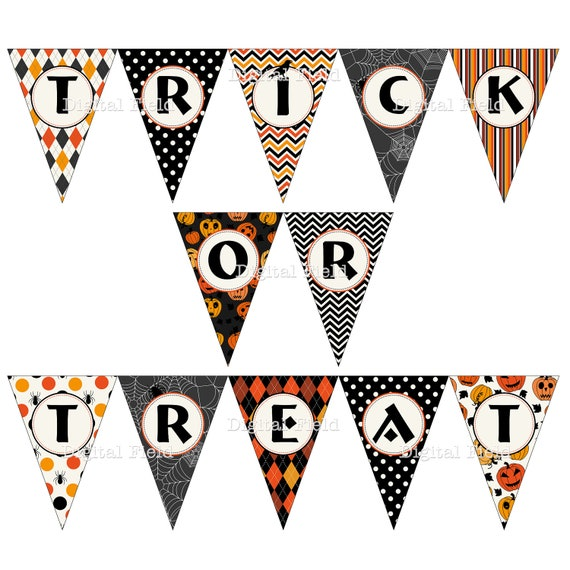 Halloween Bunting how to make felt halloween bunting halloween homecraft homedecor bunting Printable Halloween Trick Or Treat Bunting Pennant Banner Flags Instant Download