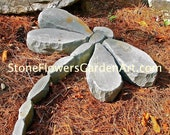 Stone Flowers Garden Art         Hand Chipped Sandstone Dragonfly