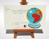Print of Globe Bank painted on Library Card - Looking at Norway