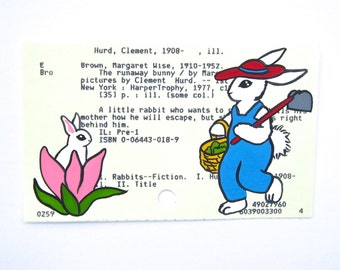The Runaway Bunny Library Card Art - Print of my painting of a young bunny and his mom on library card for The Runaway Bunny