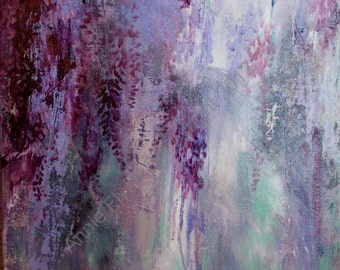 "Modern Art Print-- Archival Print of Original Painting-- ""Impromptu Wisteria in Deep Violet"""