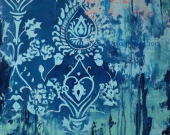 Indigo Damask with Coral and Mint