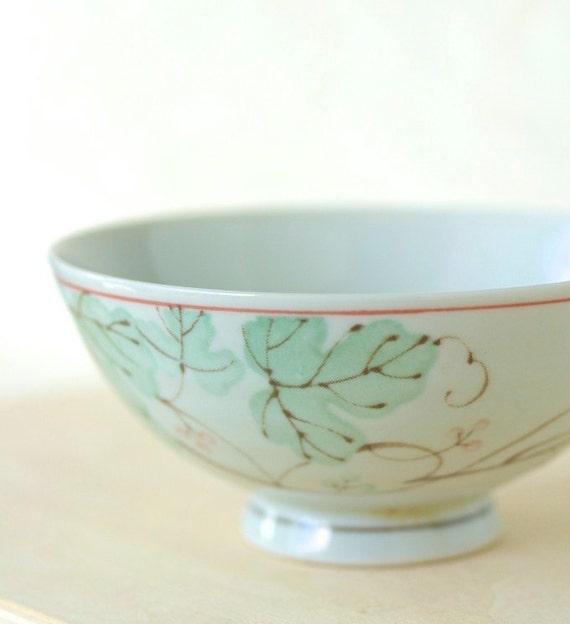 Vintage Japanese Rice Bowl Mint Green Ceramic Chawan