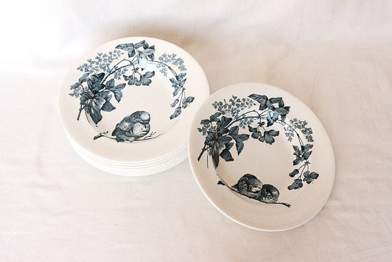 1889 set of 8 French antique plates, bird plates soup bowls Longwy 19th century, Victorian, blue and white porcelain, Thanksgiving
