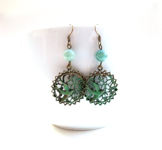 Bird patina earrings dangle earrings mint green beaded earrings