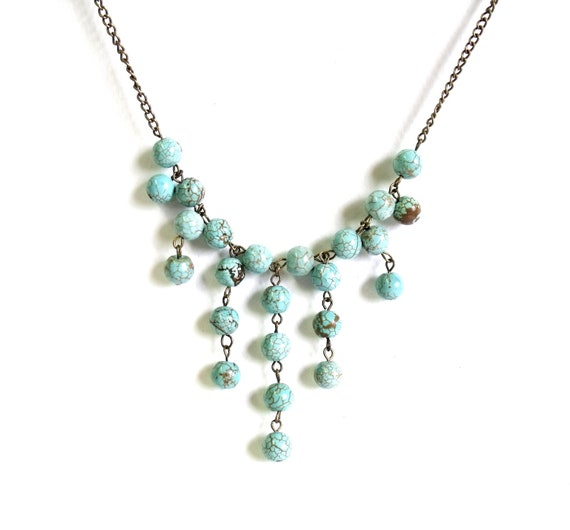 Turquoise statement bubble necklace summer statement bib necklace