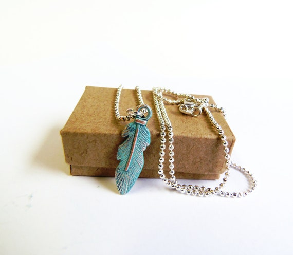 Dainty feather necklace silver plated tiny necklace