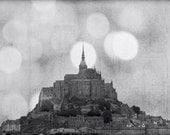 "Le Mont St Michel black & white photo abbey dreamy 12x18"" print"