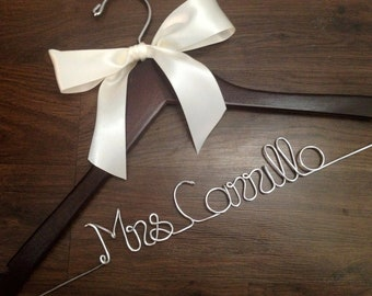 SALE Wedding Dress Hanger with Satin Bow, Bride Hanger, Wedding Hanger, Mrs Hanger, Wedding Hanger, Name Hanger, Bride Gift