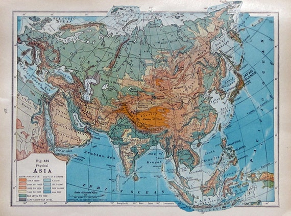 Asia Vintage Map from Old Textbook to Frame or Use in Your Altered Art, Mixed Media, Collage and More Creation