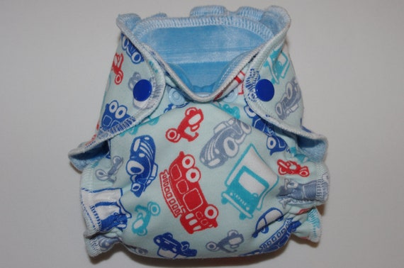 Newborn Organic Bamboo Fitted Diaper 5-12lbs in Blue/Red Cars cotton knit