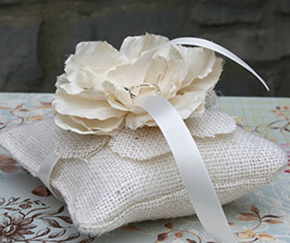 Satin Pillowcase Dublin: Rustic Ivory Burlap Ring Pillow Topped With Handmade By