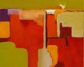"Oil Painting original 10""x10"" wrap around canvas red, wine, ochre, yellow, green, Jan Smiley"