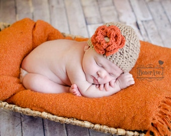 Girl Crochet Hat, Flower Hat, Baby Hat, Toddler Hat, Brown, Orange, Cream