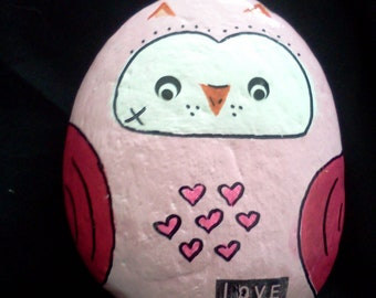 Owl rock garden stone hand painted decorative rock pink owl love
