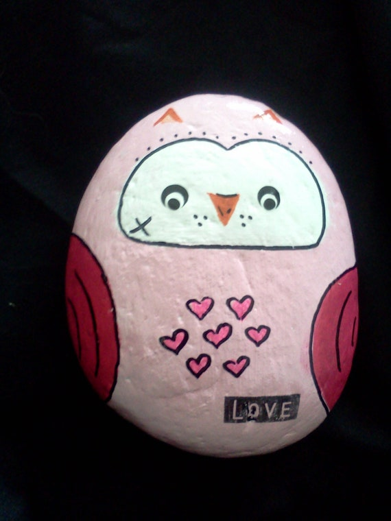 Owl rock garden stone hand painted decorative rock pink owl love