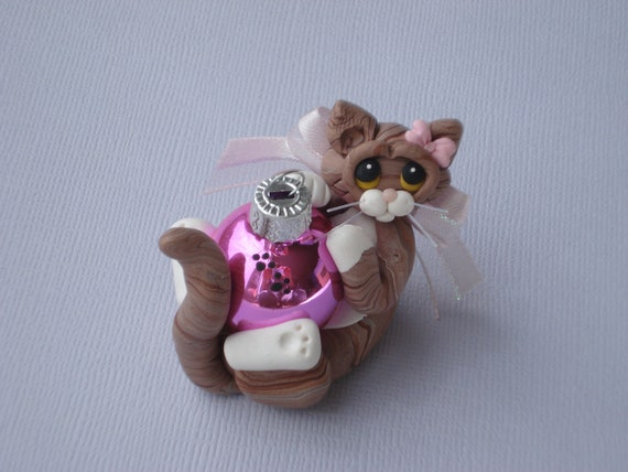 Cat Polymer Clay Christmas Ornament BrownTabby Personalized Figurine