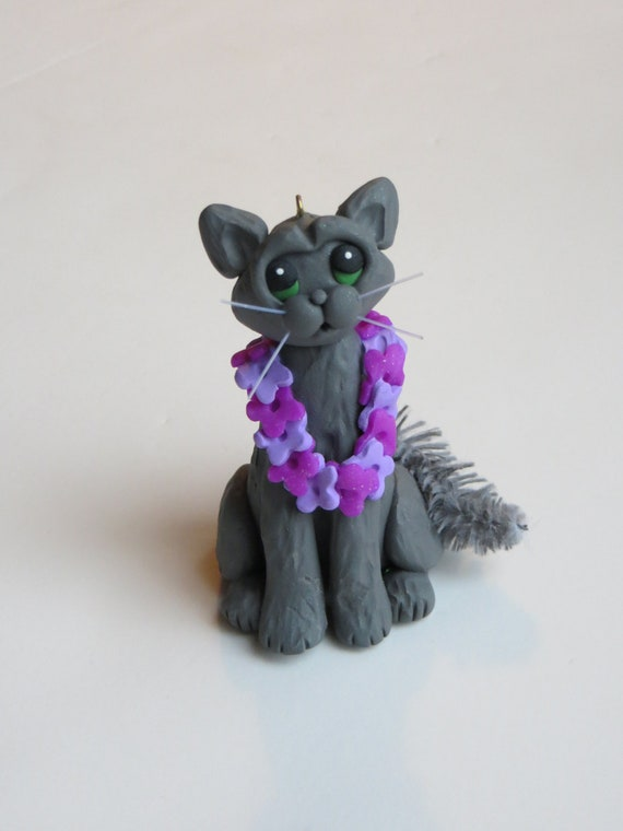 Grey Cat Christmas Ornament Polymer Clay Figurine Handcrafted
