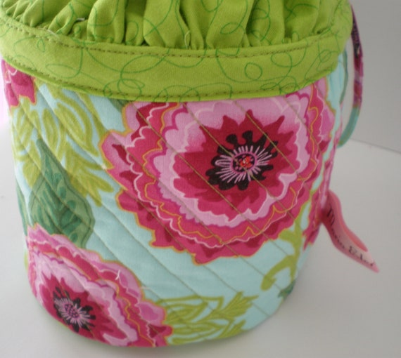 Knitting Project Bag Quilted Drawstring Bag by MariaElenaBliss