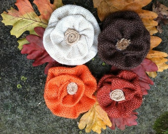 Fall collection Burlap flowers