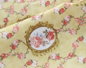Cotton Fabric Olivia Flower Broach in Yellow per Yard 24568