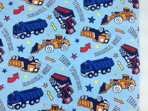 Construction Vehicles Cotton Jersey Knit on Blue 1 Yard