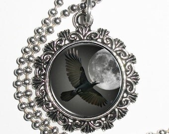 Flying Raven Crow Digital Art Pendant, Black Bird and Full Moon Resin Art Pendant, Photo Pendant