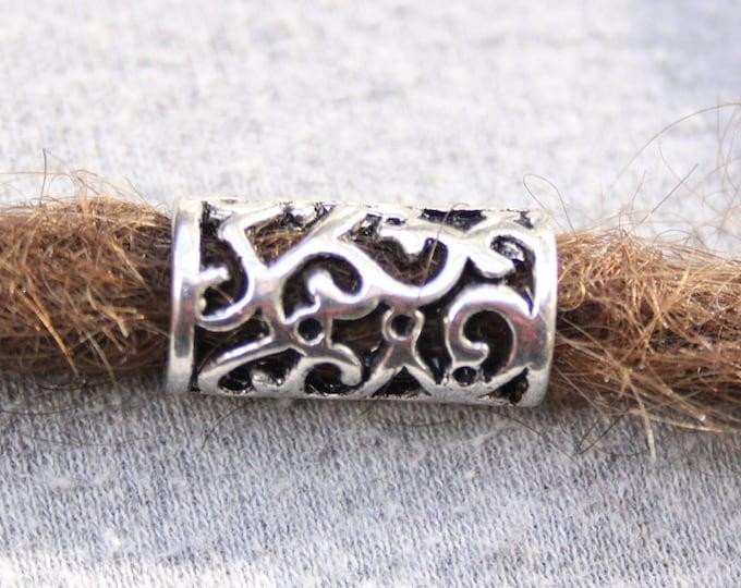 6 Large Hole Tibetan Silver DREADLOCK BEADS 8mm Hole DREAD Hair Beads