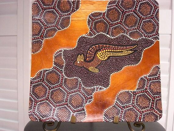 Vintage VALDO AUSTRALIAN NATIVE Aboriginal Painting on Wooden Tray