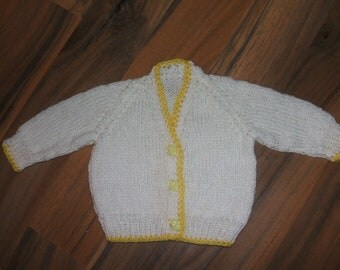 SALE cute hand knitted baby cardigan white and yellow with elephant buttons newborn