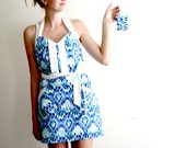 Blue Ikat Apron - navy sky blue white adjustable cotton hostess apron with ruffles, pockets