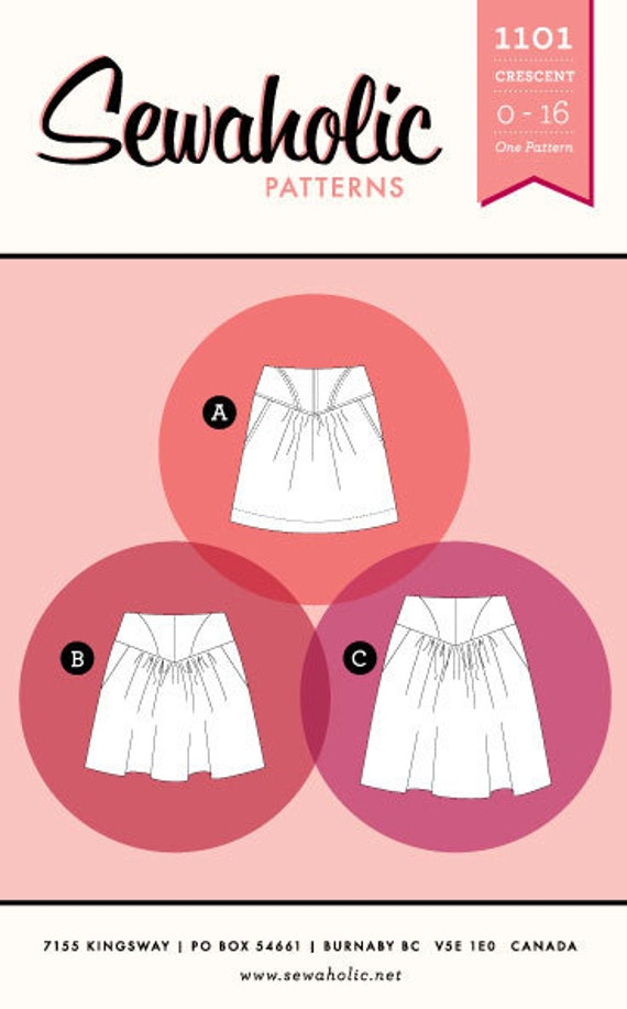 CRESCENT SKIRT pattern by Sewaholic Patterns sizes 0-16 (all sizes included)