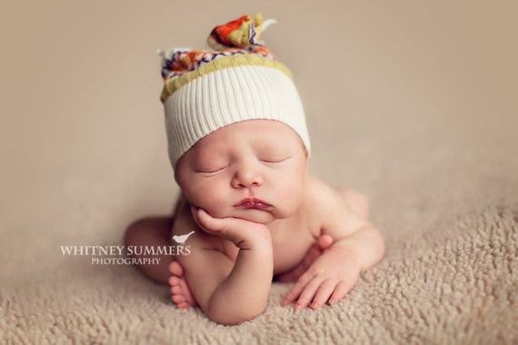 Newborn Upcycled sweater hat, baby girl or boy Photography Prop Beanie Hat, infant orange and striped hat