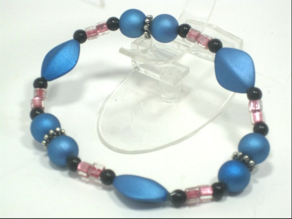 Blue Satin Bead Stretch Bracelet