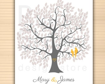 Wedding guest book alternative. Large tree 250 leaves in fall - winter colors. Love birds. Printable