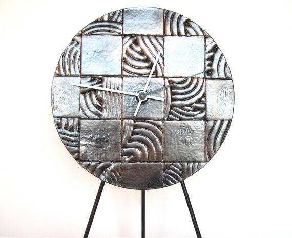 50% OFF SALE Abstract Wall Clock, modern minimalist industrial ceramic wall hanging art clock home decor in dark metallic gold checkerboard