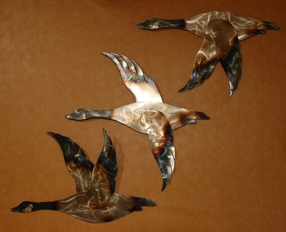 Set Of 3 Metal Wall Art Canadian Geese