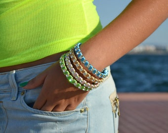 Satin and Rhinestones Bracelets / Bangles 1 pcs - Handmade by PinkSugArt